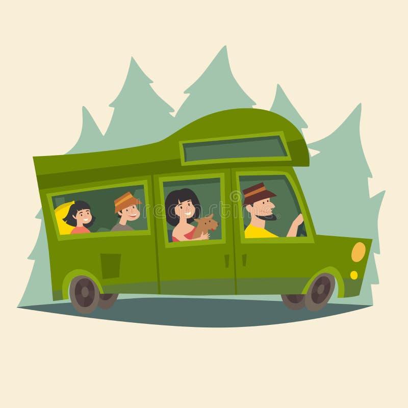 Przyczepa z podróżną szczęśliwą rodziną Campingowej przyczepy rodzinna karawana, karawanowy Mobil dom na wycieczce/ ilustracja wektor
