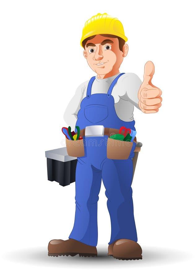 Przydatny mężczyzna pracownika budowlanego kciuk ilustracja wektor