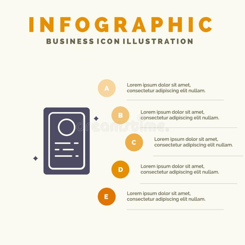 Przydział, Akcydensowy zastosowanie, Próbny Stały ikony Infographics 5 kroków prezentacji tło ilustracja wektor