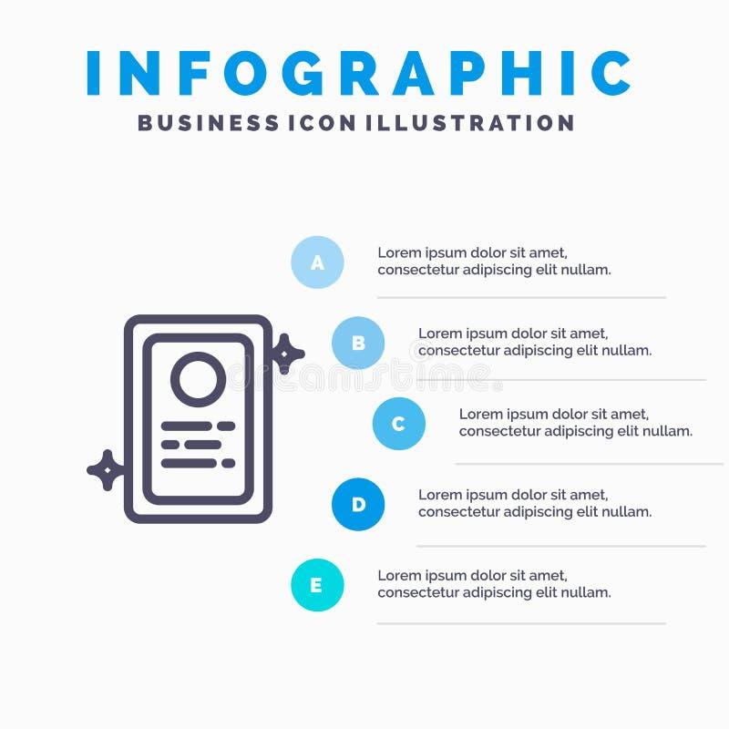 Przydział, Akcydensowy zastosowanie, test Kreskowa ikona z 5 kroków prezentacji infographics tłem ilustracja wektor