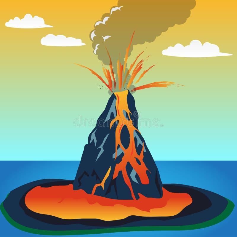 Przydział kartoteka: Wulkan erupcja ilustracja wektor