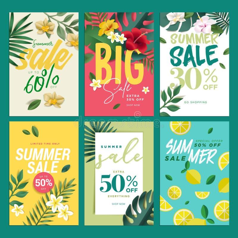 Przygląda się chwytającej lato sprzedaży mobilnych sztandary, reklamy i plakaty inkasowych, ilustracja wektor