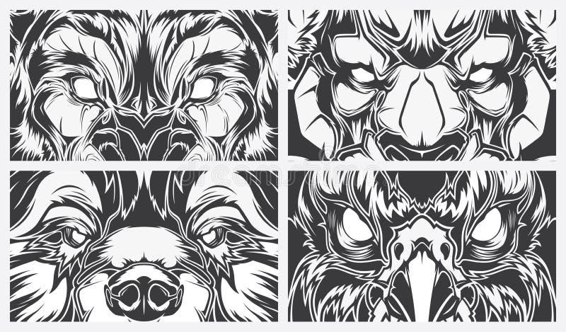 Przygląda się niebezpiecznych zwierzęta, tatuażu stylowy wektorowy tło ilustracja wektor