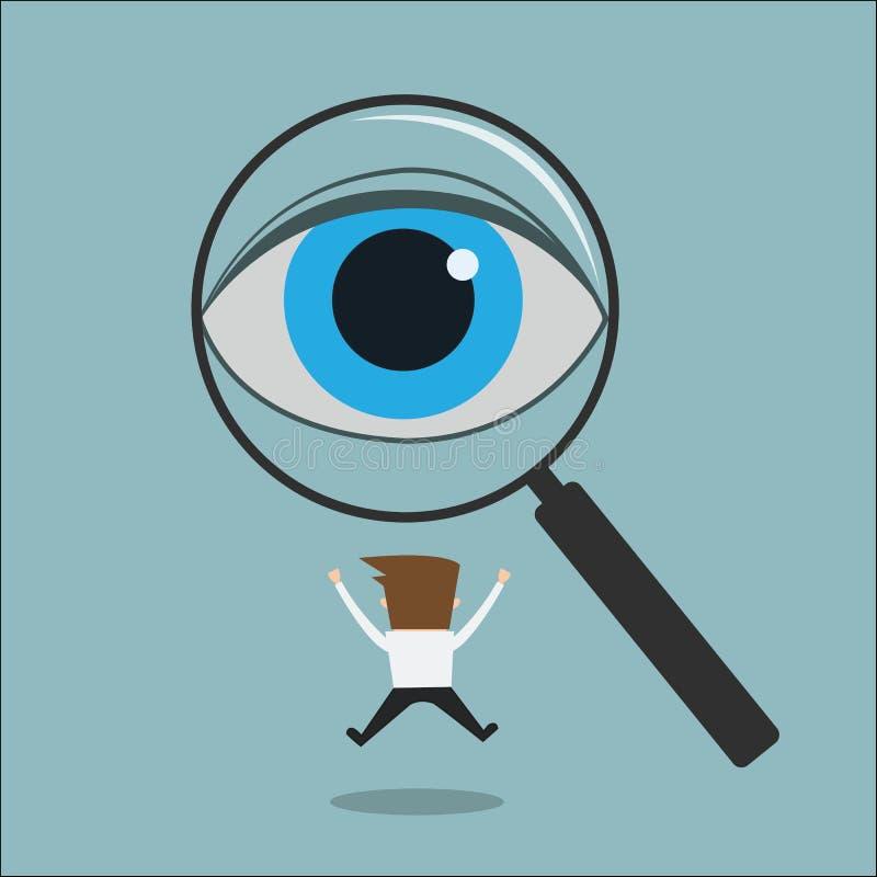 Przygląda się patrzeć przez powiększać - szklany znalezienie mężczyzna ilustracja wektor