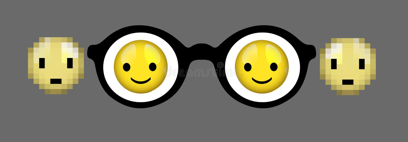 Przygląda się szklanego pojęcie, myopia pojęcie, spojrzenie przy pozytywnym pomysłem, ostrość, smiley twarze w szkle i plama, ost ilustracji