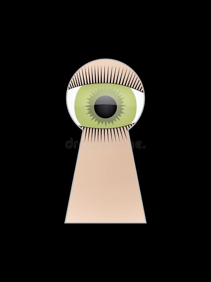 Przygląda się zerknięcie przy kluczową dziurą ilustracja wektor