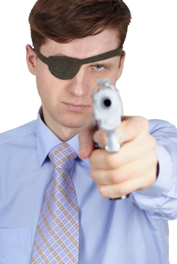 przyglądający się jeden pistoletowy rabuś zagraża my obrazy stock
