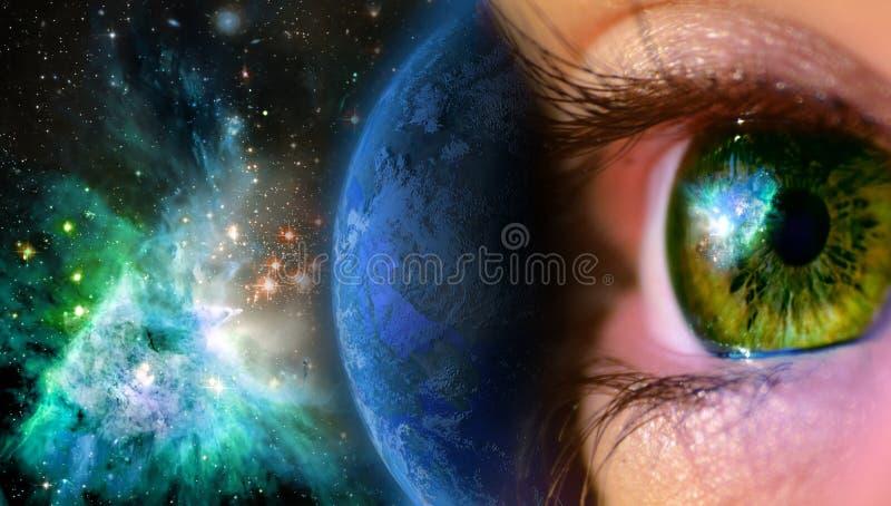 przyglądający wszechświat royalty ilustracja