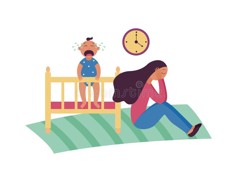 Przygnębiona kobieta siedzi na podłodze podczas gdy dziecko płacze w łóżko polowe kreskówki płaskim stylu ilustracja wektor