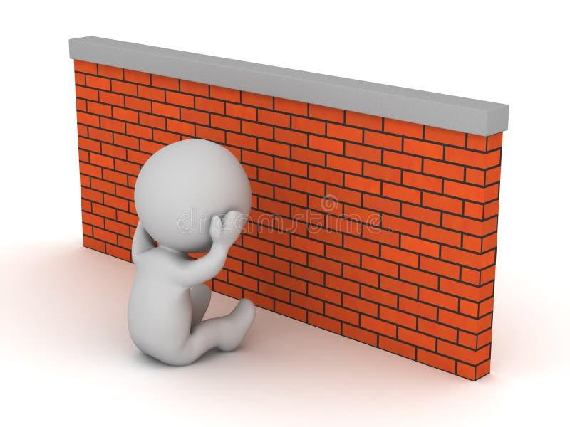Przygnębiony 3D charakter z ściana z cegieł royalty ilustracja