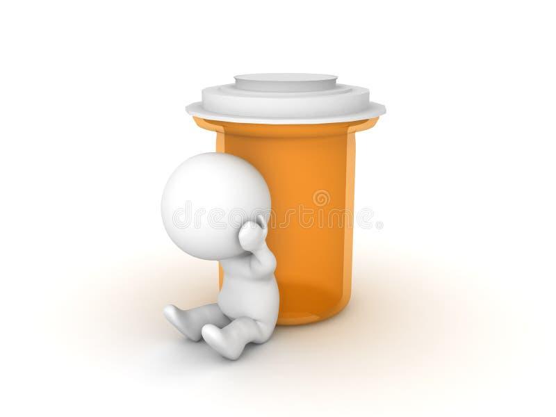 Przygnębiony 3D charakteru obsiadanie obok antej depressant butelki ilustracja wektor