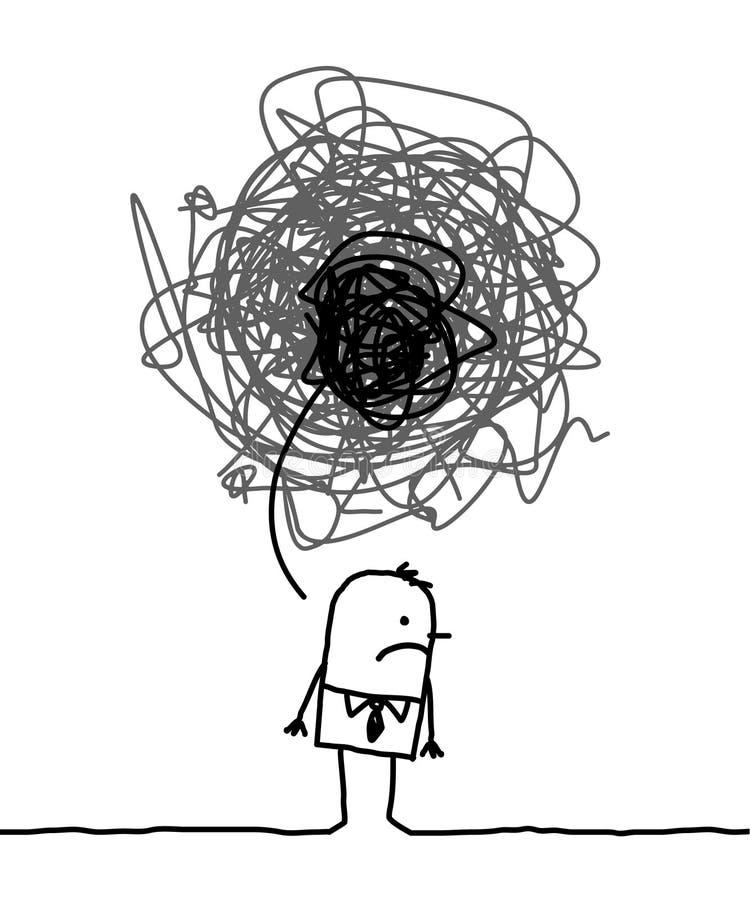 przygnębiony mężczyzna royalty ilustracja