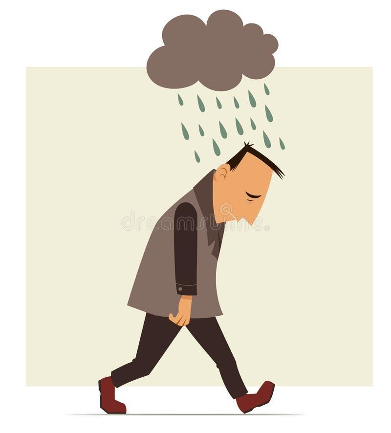 Przygnębiony mężczyzna ilustracji