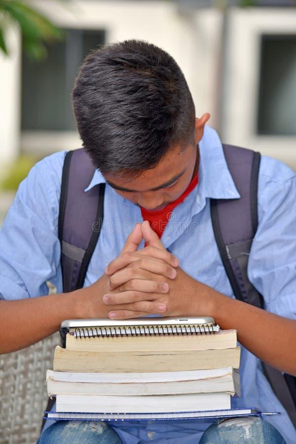 Przygnębiony Męski uczeń zdjęcie stock