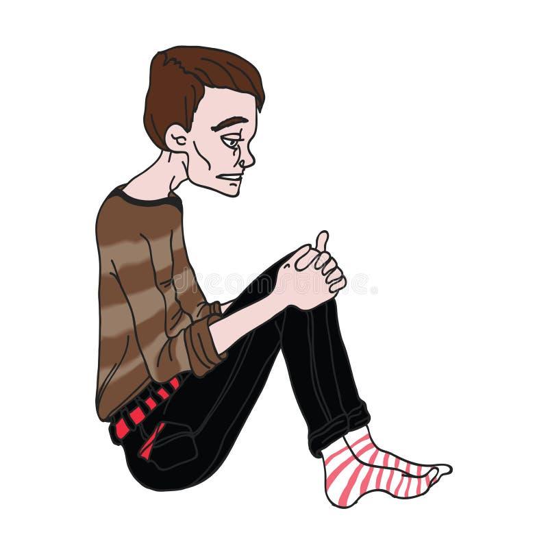 Przygnębiony młodego człowieka obsiadanie Odizolowywająca na biel wektorowa ilustracja ilustracji