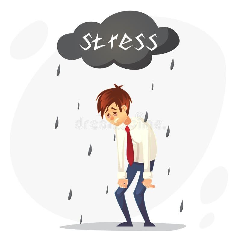 Przygnębiony smutny urzędnika charakter Stres przy pracą zapracowany Wektorowa płaska kreskówki ilustracja royalty ilustracja