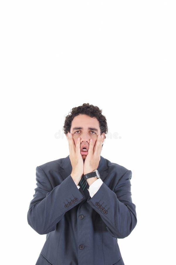 Przygnębiony smutny zmęczony biznesowy mężczyzna z desperackim wyrażeniem obrazy royalty free