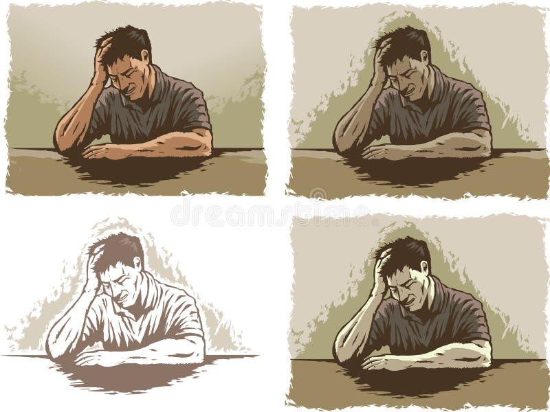Przygnębiony/Stresował się mężczyzna ilustracja wektor