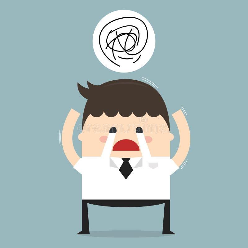 Przygnębiony zmęczony biznesmen Smutna i stresująca się out połowa dekady ilustracji