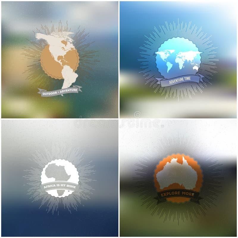 Przygoda czasu plakaty Światowe mapy z rocznikiem ilustracji