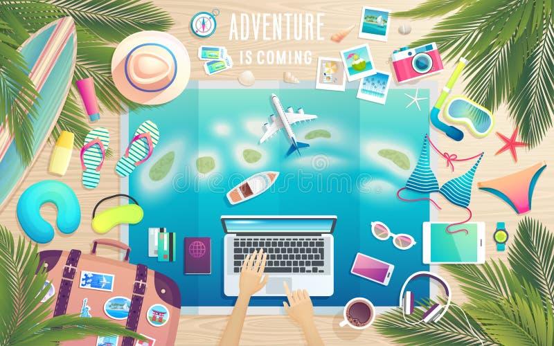 Przygoda przychodzi Przygotowywać dla wycieczki tropikalny raj ilustracja wektor