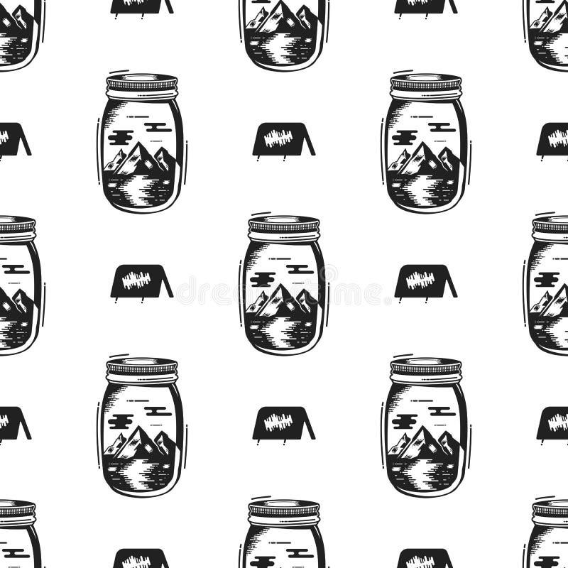 Przygoda słoju butelki bezszwowy wzór z namiotowym symbolem, halni elementy Rocznika ręka rysujący tapetowy tło dla royalty ilustracja