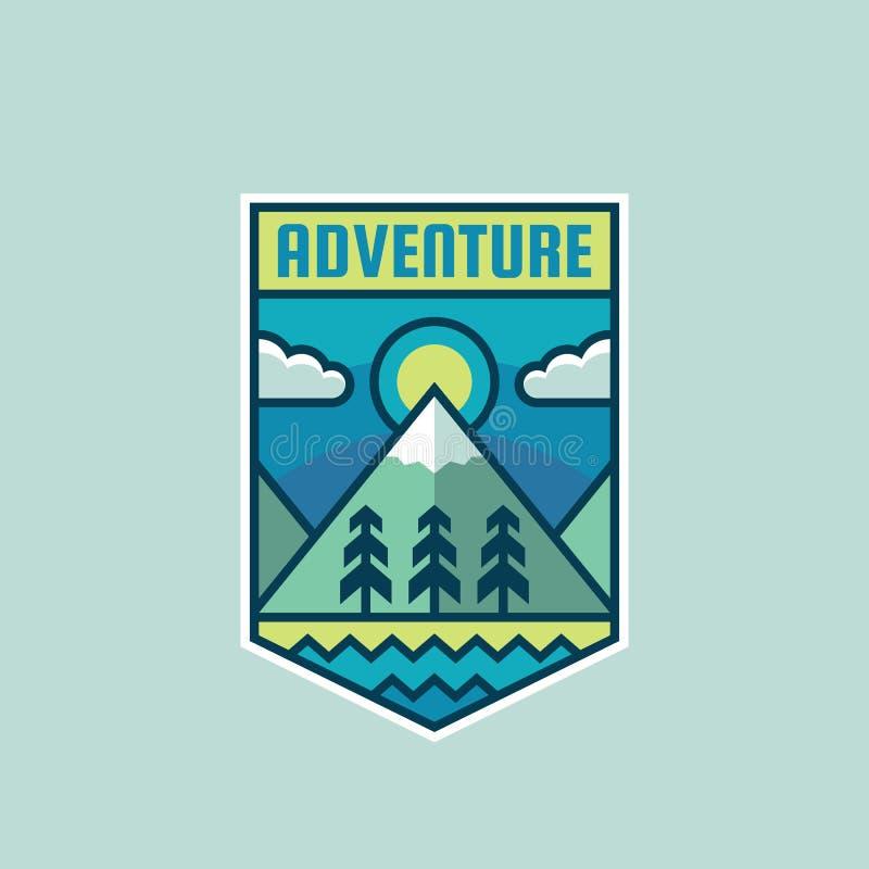 Przygody góra - pojęcie odznaki wektoru ilustracja Wyprawa badacza kreatywnie logo w mieszkanie stylu Odkrycie plenerowy znak ilustracji