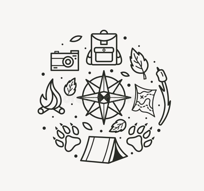 Przygody podróży kreskowej sztuki styl Kompas, łapy, plecak, namiot, ognisko, kamera, mapa dla turystycznego symbolu, podróży odz ilustracja wektor