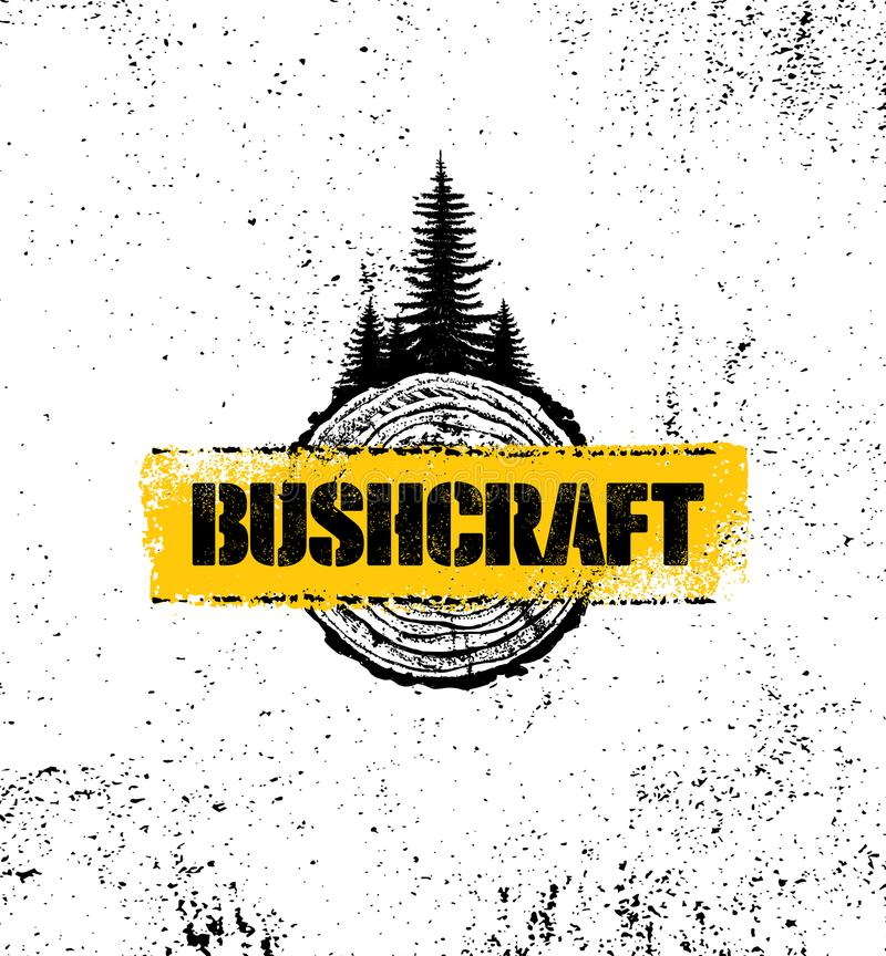 Przygody podwyżki Bushcraft motywaci Halnego Kreatywnie znaka Ustalony pojęcie Przetrwania wyposażenia Wektorowy Plenerowy projek ilustracja wektor
