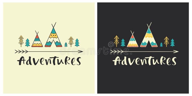 Przygody - ręka rysujący literowanie w etnicznym stylu z wigwam ikonami ilustracji