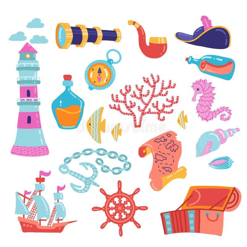 Przygody symbol ustawiaj?ca wektorowa ilustracja Skarb klatki piersiowej kotwicy latarni morskiej cyrklowej mapy spyglass butelka ilustracja wektor