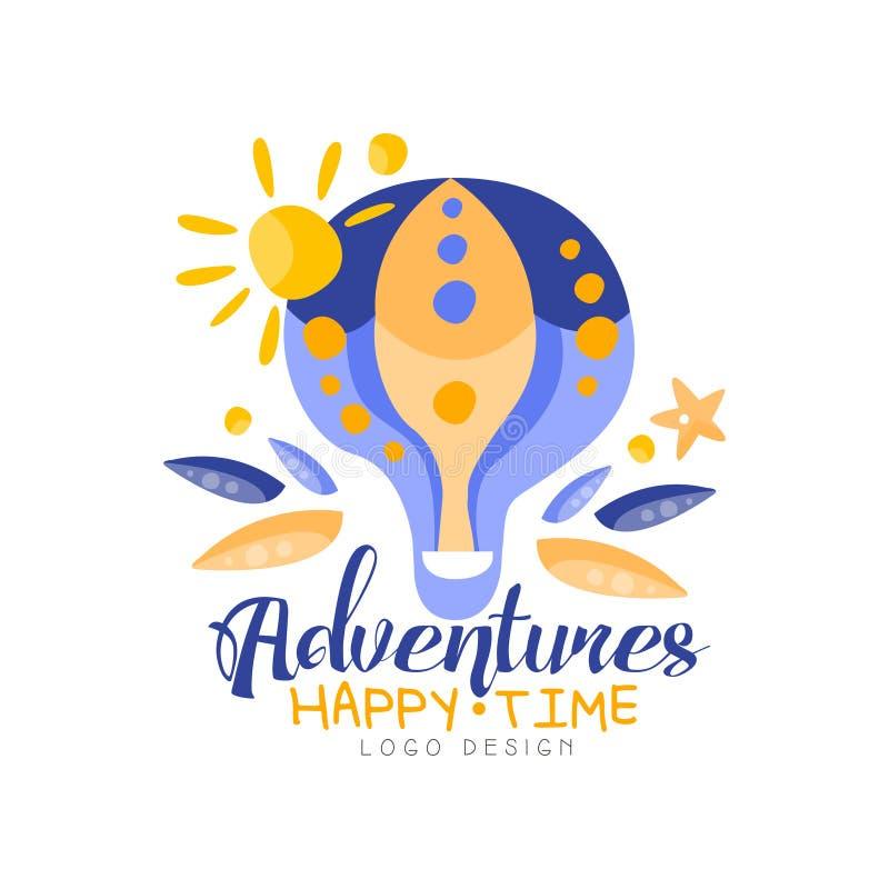 Przygody, szczęśliwy czas, logo projekt, wakacje, podróż, turystycznej agencji kreatywnie etykietka z gorące powietrze balonu wek ilustracji