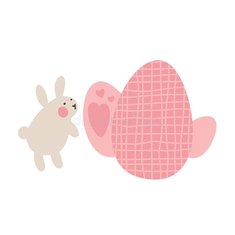 Przygody Wielkanocni króliki które są szukający wakacyjnych jajka i chujący, Wielkanocni projektów elementy w minimalistic wektor ilustracja wektor
