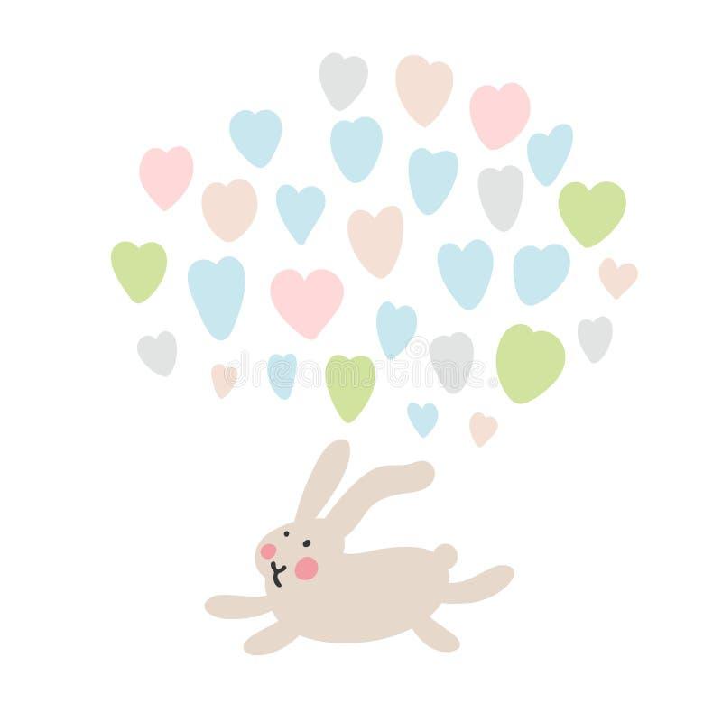 Przygody Wielkanocni króliki które są szukający wakacyjnych jajka i chujący, Wielkanocni projektów elementy w minimalistic wektor royalty ilustracja