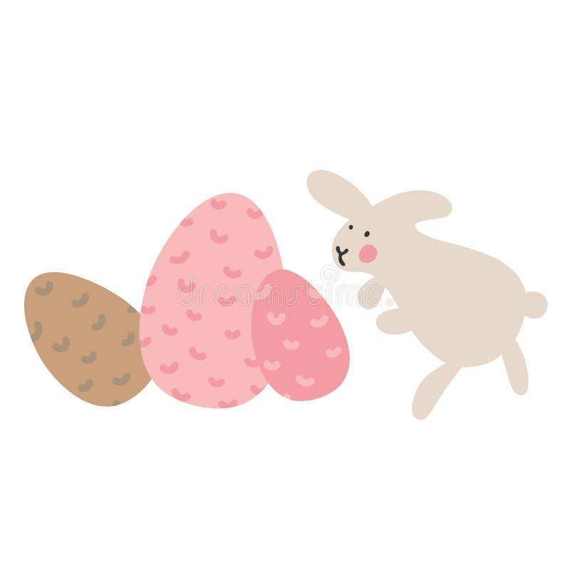 Przygody Wielkanocni króliki które są szukający wakacyjnych jajka i chujący, ilustracja wektor