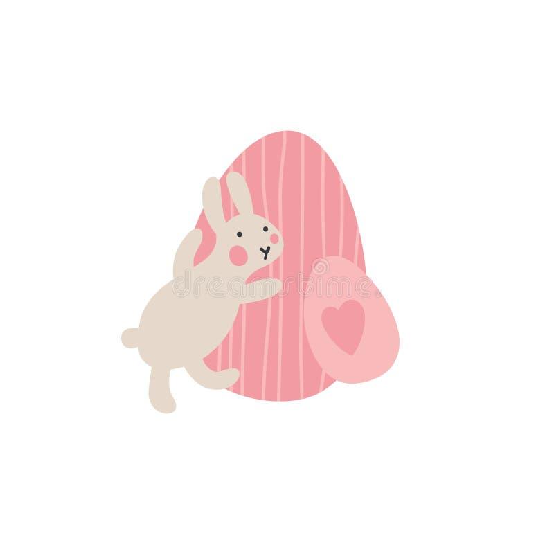 Przygody Wielkanocni króliki które są szukający wakacyjnych jajka i chujący, Wielkanocni projektów elementy w minimalistic wektor ilustracji