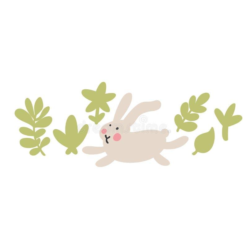Przygody Wielkanocni kr?liki kt?re s? szukaj?cy wakacyjnych jajka i chuj?cy, royalty ilustracja