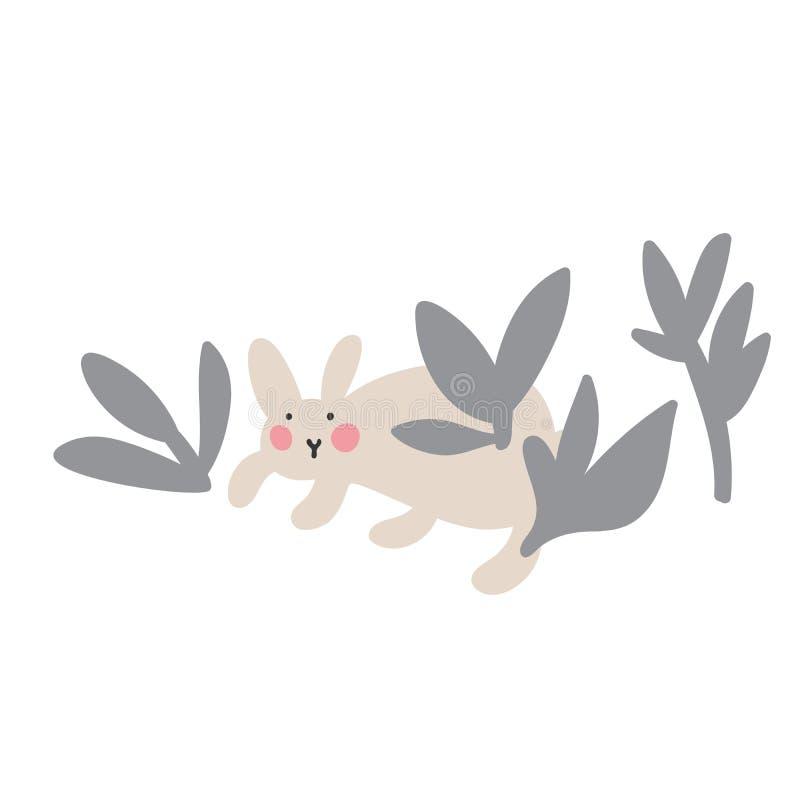 Przygody Wielkanocni kr?liki kt?re s? szukaj?cy wakacyjnych jajka i chuj?cy, Wielkanocni projekt?w elementy w minimalistic wektor ilustracji