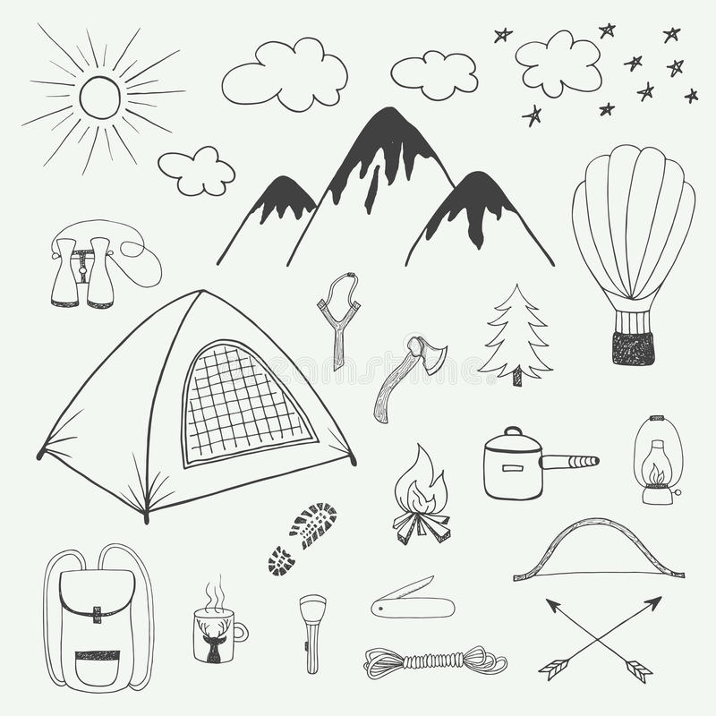 Przygody wręczają patroszonego doodle set w rocznika stylu royalty ilustracja