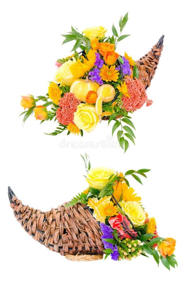 przygotowania cornucopia kwiatu dziękczynienie zdjęcie royalty free