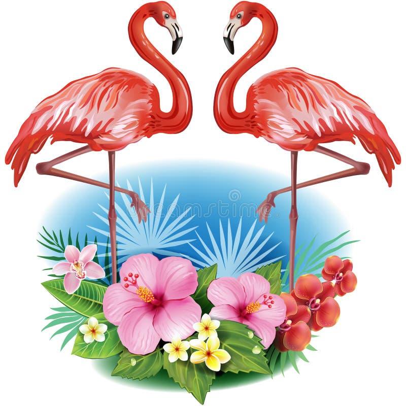 Przygotowania od kwiatów i flamingów ilustracji