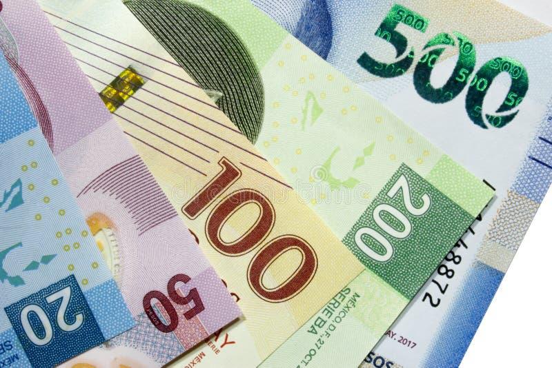 Przygotowania w szczególe Meksykańskiego peso rachunki fotografia royalty free