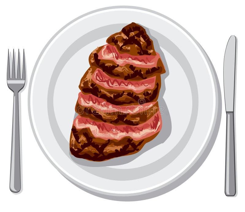 Przygotowany wołowina stek ilustracja wektor