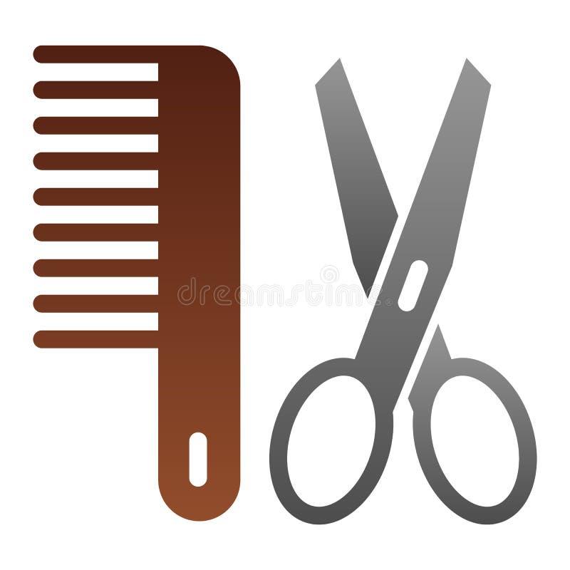 Przygotowywać płaską ikonę Nożyce i grępla koloru ikony w modnym mieszkaniu projektują Fryzjera męskiego gradientu stylu projekt, ilustracja wektor