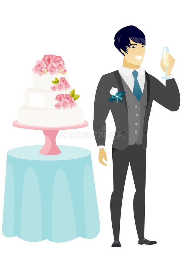 Przygotowywa trwanie pobliskiego tort z szkłem szampan ilustracja wektor