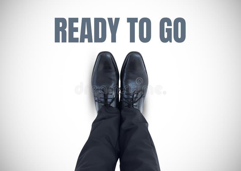 Przygotowywający iść tekst i czerń buty na ciekach z białym tłem royalty ilustracja