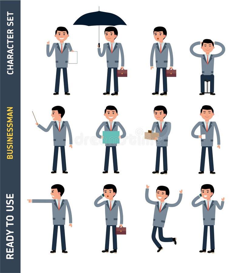 Przygotowywający używać charakteru - set Młody biznesmen ilustracja wektor