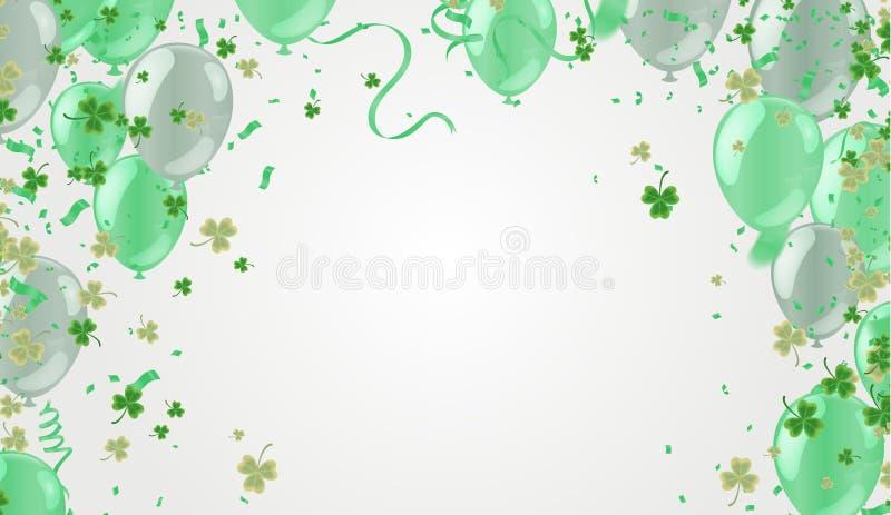 Przyjęcie balonów ilustracyjna koniczyna opuszcza dekorującego przejrzystego tło St Patrick dzień Plakat lub sztandaru projekt ilustracja wektor