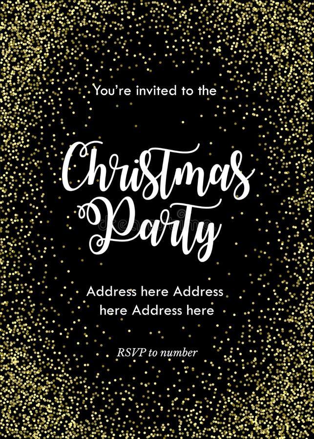 Przyjęcia gwiazdkowego zaproszenia karta, szablon Czerń z złotymi confetti i literowaniem royalty ilustracja