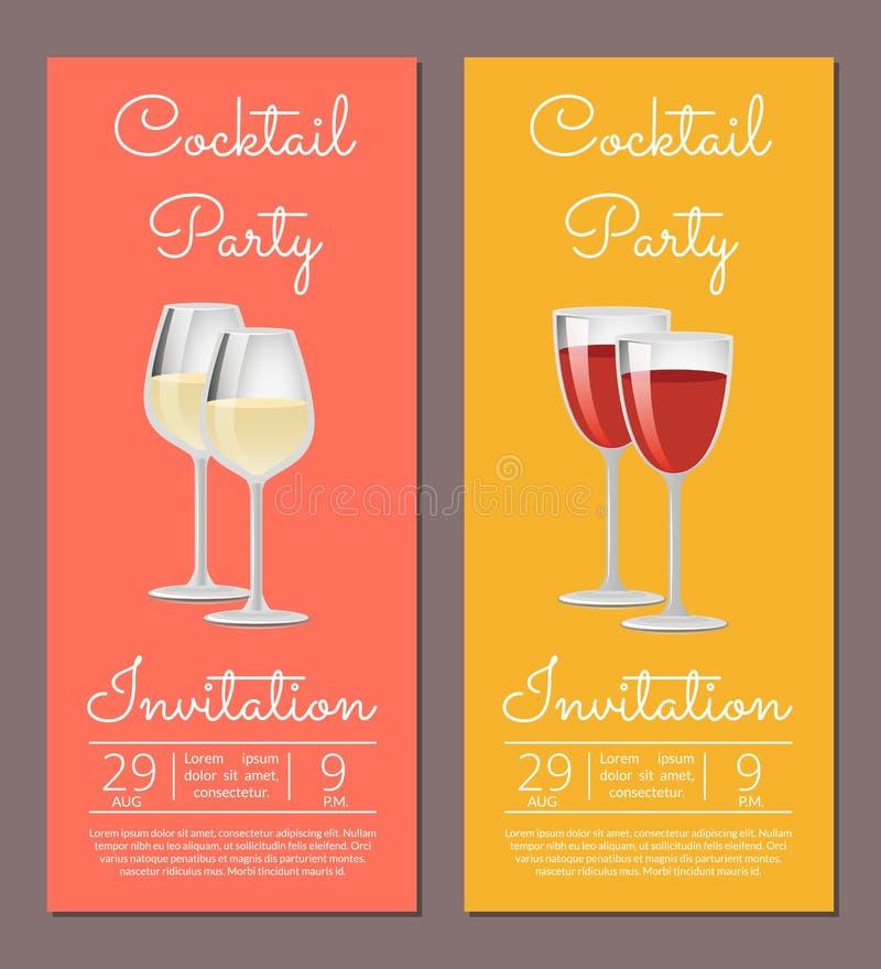Przyjęcia Koktajlowe zaproszenia plakaty Daktylowi i czas royalty ilustracja